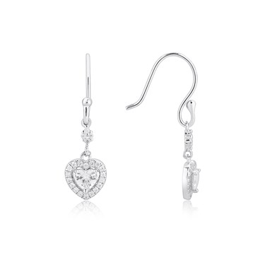 Argento Silver Crystal Heart Drop Earrings  - Click to view larger image