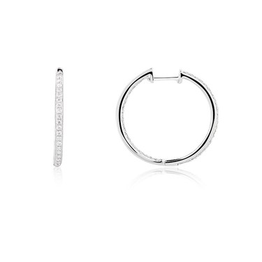 Argento Silver CZ Huggie Earring  - Click to view larger image