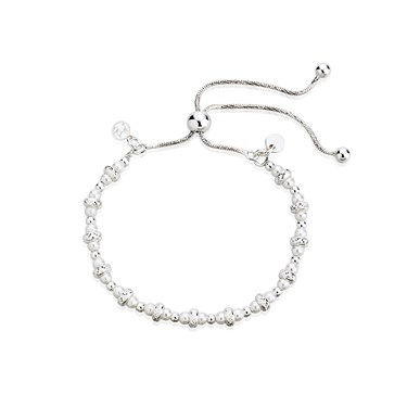 Argento Silver CZ Mix Bead Pull Bracelet  - Click to view larger image