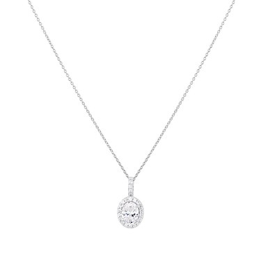 Argento Silver Crystal Oval Halo Necklace  - Click to view larger image