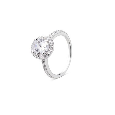 Argento Silver Crystal Oval Halo Ring  - Click to view larger image