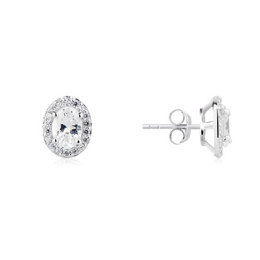 Argento Silver Crystal Oval Halo Stud Earrings  - Click to view larger image