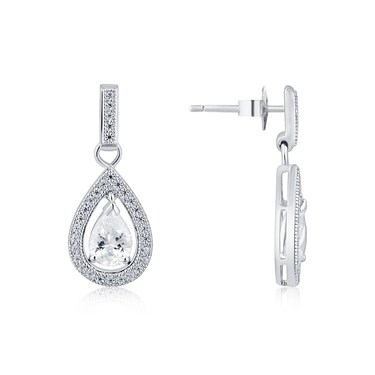 Argento Silver CZ Teardrop Earrings  - Click to view larger image