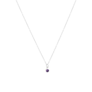 Argento Silver Dot Border Amethyst Necklace  - Click to view larger image