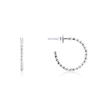 Argento Silver Dot Hoop Earrings  - Click to view larger image