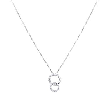 Argento Silver Dot Link Circle Necklace  - Click to view larger image