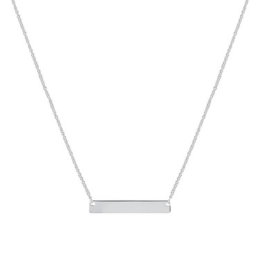 Argento Silver Engraving Bar Necklace  - Click to view larger image