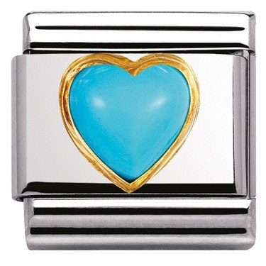 Nomination Turquoise Heart Charm  - Click to view larger image