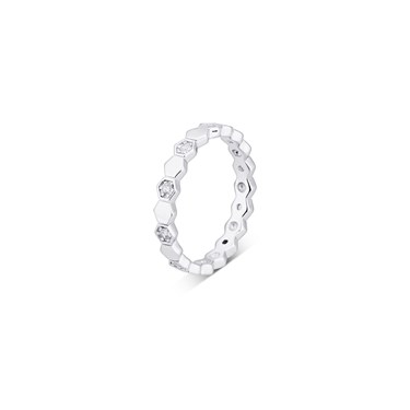 Argento Silver Honeycomb Band Ring  - Click to view larger image