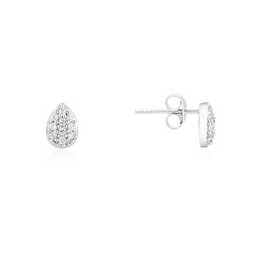 Argento Silver Pave CZ Pear Stud Earrings  - Click to view larger image