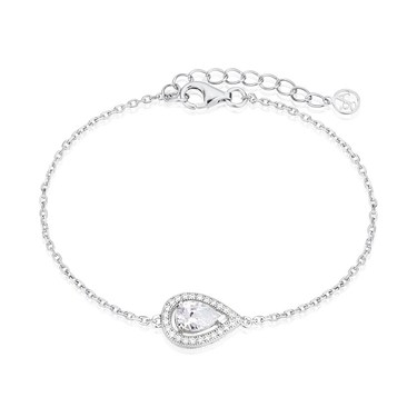 Argento Silver Pear Halo Bracelet  - Click to view larger image