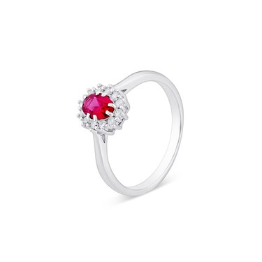 Argento Silver Ruby Halo Crystal Ring  - Click to view larger image