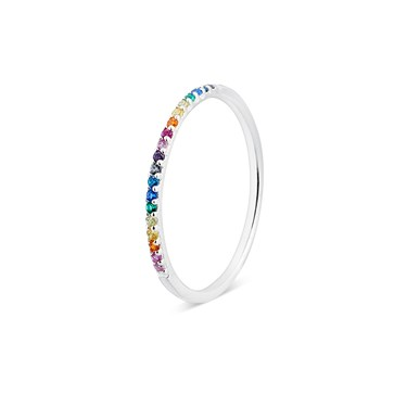 Argento Silver Rainbow Band Ring  - Click to view larger image