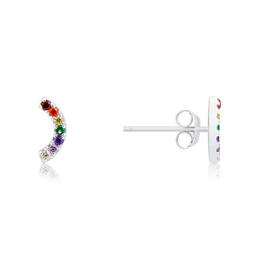 Argento Silver Rainbow Curve Stud Earrings  - Click to view larger image