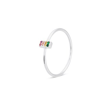 Argento Silver Rainbow CZ Bar Ring  - Click to view larger image