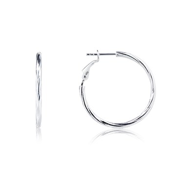 Argento Silver Rope Hoop Earrings  - Click to view larger image