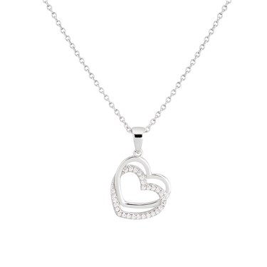 Argento Silver Double Layer Heart Necklace  - Click to view larger image