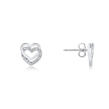 Argento Silver Double Layer Heart Stud Earrings  - Click to view larger image