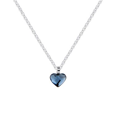 Argento Silver Denim Crystal Heart Necklace  - Click to view larger image