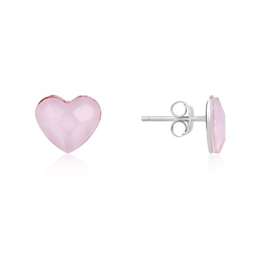 Argento Silver Rose Crystal Double Heart Earrings  - Click to view larger image