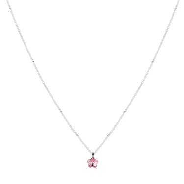 Argento Silver Rose Crystal Flower Necklace  - Click to view larger image