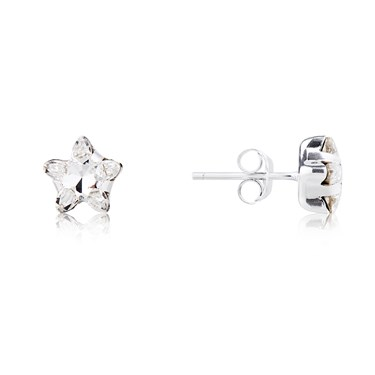 Argento Silver Crystal Star Earrings  - Click to view larger image