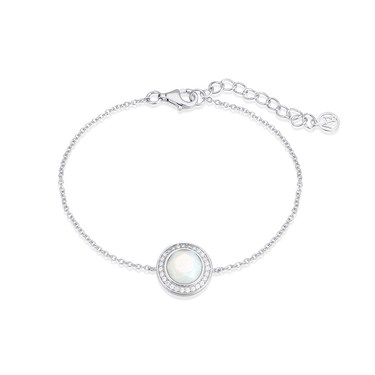 Argento Silver Opal Halo Bracelet  - Click to view larger image