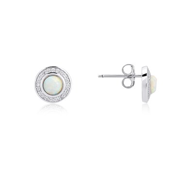 Argento Silver Opal Halo Stud  - Click to view larger image
