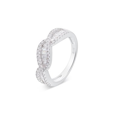 Argento Silver Crystal Twist Ring  - Click to view larger image