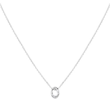 Argento Silver Twist Oval Necklace  - Click to view larger image