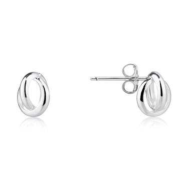 Argento Silver Twist Oval Stud  - Click to view larger image
