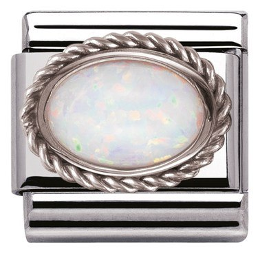 Nomination Framed White Opal Stone Charm  - Click to view larger image