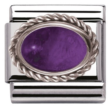 Nomination Framed Amethyst Stone Charm  - Click to view larger image