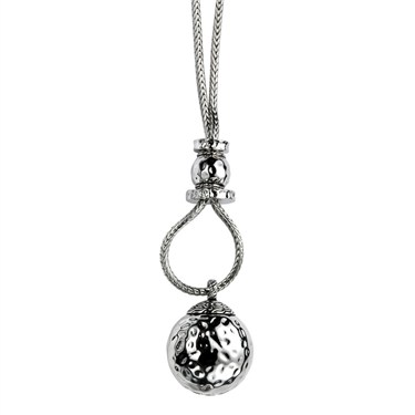 Karma Silver Ball Pendant Necklace