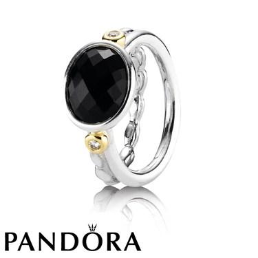 Pandora 14ct Gold, Onyx Diamond Ring
