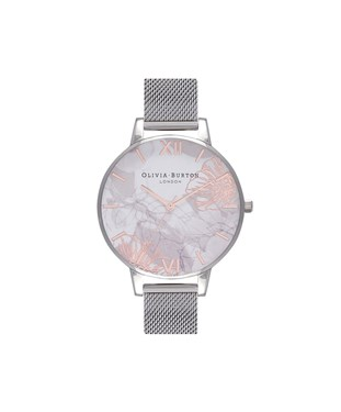 Olivia Burton Abstract Florals Silver Mesh Watch  - Click to view larger image
