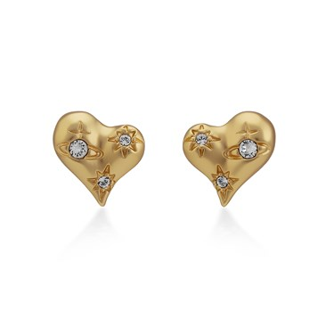 Vivienne Westwood Gold Alice Heart Earrings  - Click to view larger image