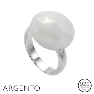 Argento White Jade Ring
