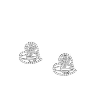 Vivienne Westwood Giuseppa Rhodium Heart Earrings   - Click to view larger image