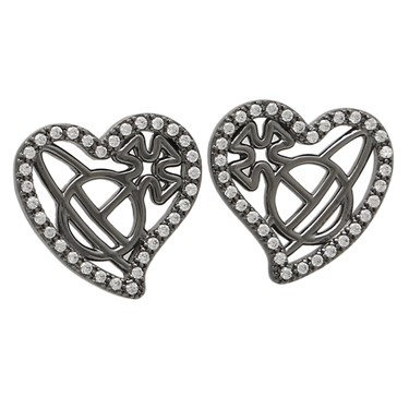 Vivienne Westwood Giuseppa Ruthenium Heart Earrings   - Click to view larger image