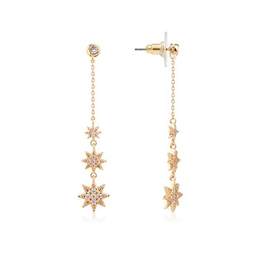 Dirty Ruby Gold Crystal Star Long Drop Earring  - Click to view larger image