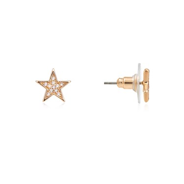 Dirty Ruby Gold Crystal Star Stud Earring  - Click to view larger image