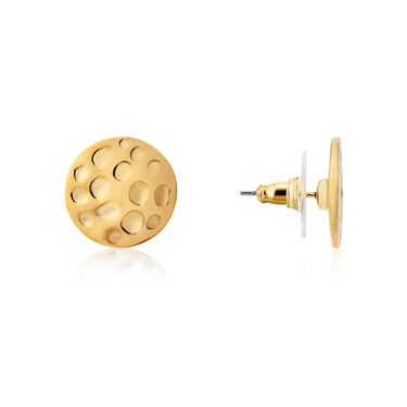 Dirty Ruby Gold Dimple Circles Stud Earring  - Click to view larger image