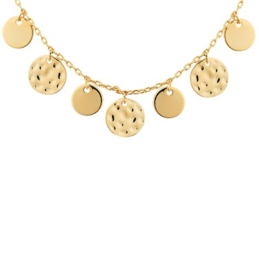 Dirty Ruby Gold Dimple Circles Necklace  - Click to view larger image