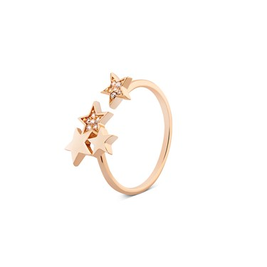 Dirty Ruby Gold Open Crystal Stars End Ring  - Click to view larger image