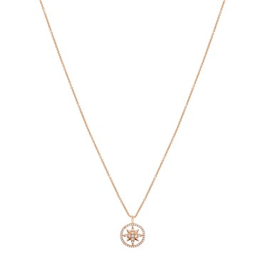 Dirty Ruby Gold Crystal Star in Circle Necklace  - Click to view larger image