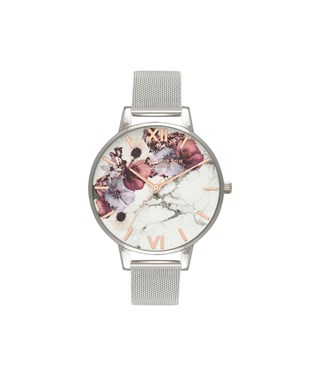 Olivia Burton Marble Floral Rose Gold & Silver Mesh Watch  - Click to view larger image