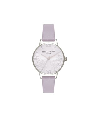 Olivia Burton Lace Detail Grey Lilac & Silver Watch  - Click to view larger image