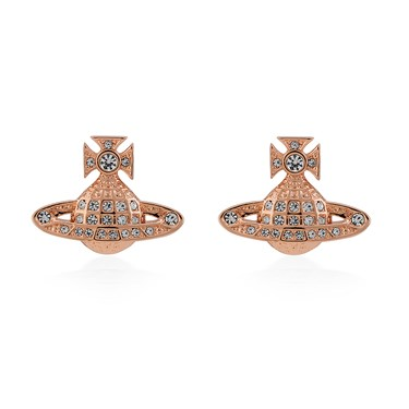 Vivienne Westwood Rose Gold Mini Bas Relief Earrings  - Click to view larger image