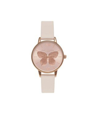 Olivia Burton 3D Butterfly Blush & Rose Gold Watch  - Click to view larger image